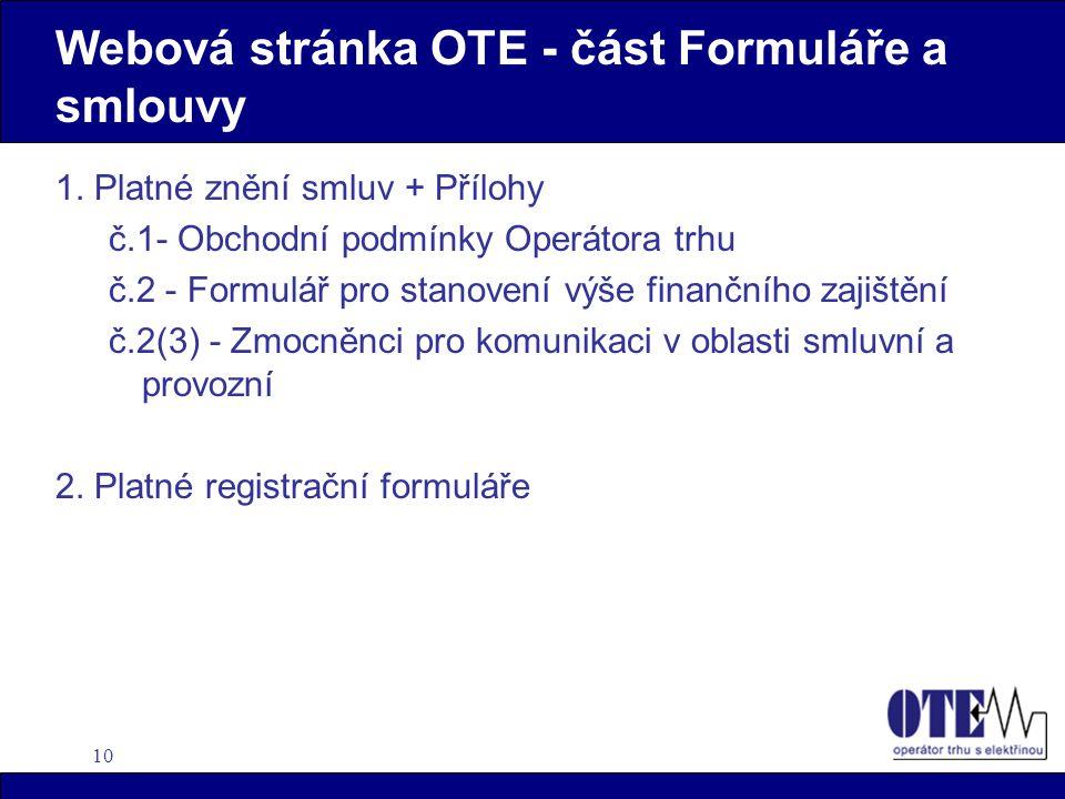 10 Webová stránka OTE - část Formuláře a smlouvy 1.