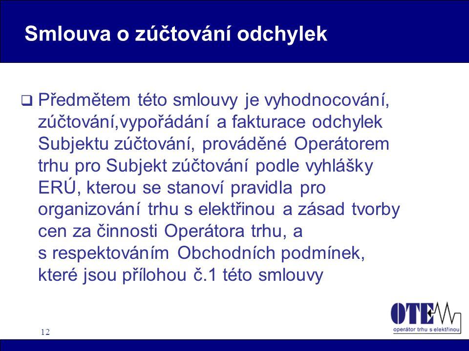 12  Předmětem této smlouvy je vyhodnocování, zúčtování,vypořádání a fakturace odchylek Subjektu zúčtování, prováděné Operátorem trhu pro Subjekt zúčtování podle vyhlášky ERÚ, kterou se stanoví pravidla pro organizování trhu s elektřinou a zásad tvorby cen za činnosti Operátora trhu, a s respektováním Obchodních podmínek, které jsou přílohou č.1 této smlouvy Smlouva o zúčtování odchylek
