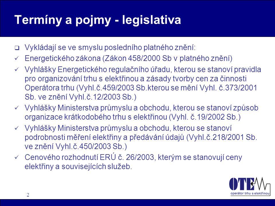 2 Termíny a pojmy - legislativa  Vykládají se ve smyslu posledního platného znění: Energetického zákona (Zákon 458/2000 Sb v platného znění) Vyhlášky Energetického regulačního úřadu, kterou se stanoví pravidla pro organizování trhu s elektřinou a zásady tvorby cen za činnosti Operátora trhu (Vyhl.č.459/2003 Sb.kterou se mění Vyhl.