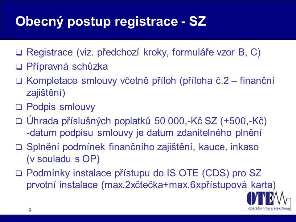 9 Obecný postup registrace - SZ  Registrace (viz.