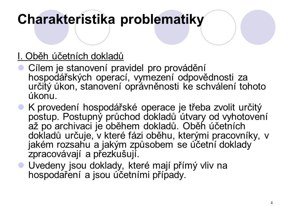 5 Charakteristika problematiky Uplatněna jsou hlediska: - úplnosti, - průkaznosti, - věrohodnosti, - správnosti.