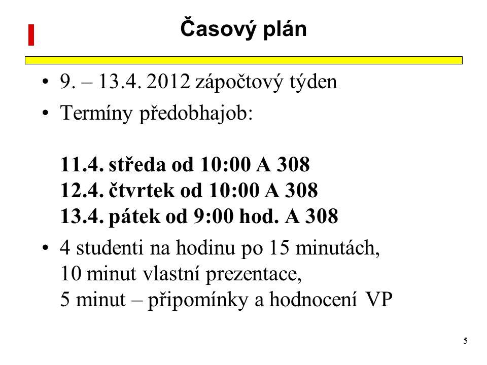 5 Časový plán 9.– 13.4. 2012 zápočtový týden Termíny předobhajob: 11.4.