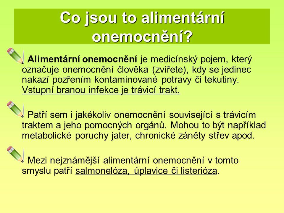 Co jsou to alimentární onemocnění? Alimentární onemocnění je medicínský pojem, který označuje onemocnění člověka (zvířete), kdy se jedinec nakazí pozř
