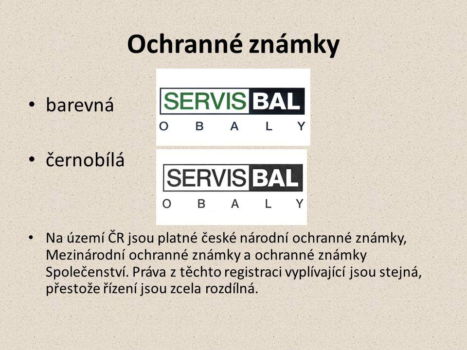Ochranné známky barevná černobílá Na území ČR jsou platné české národní ochranné známky, Mezinárodní ochranné známky a ochranné známky Společenství. P