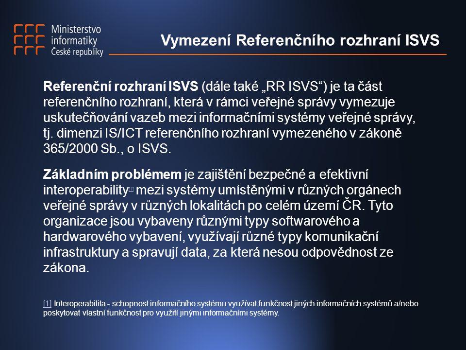 """Referenční rozhraní ISVS (dále také """"RR ISVS ) je ta část referenčního rozhraní, která v rámci veřejné správy vymezuje uskutečňování vazeb mezi informačními systémy veřejné správy, tj."""