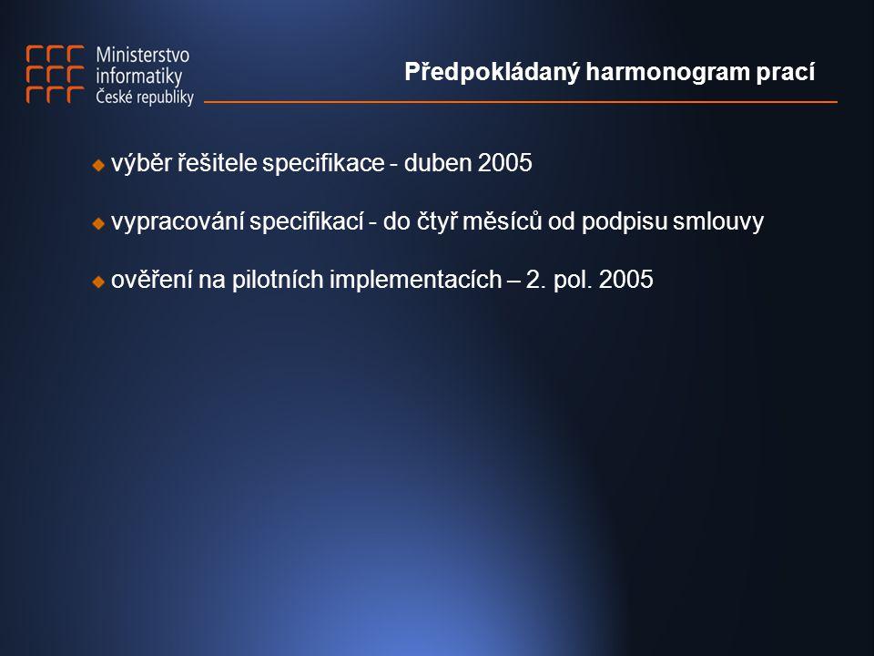 výběr řešitele specifikace - duben 2005 vypracování specifikací - do čtyř měsíců od podpisu smlouvy ověření na pilotních implementacích – 2.