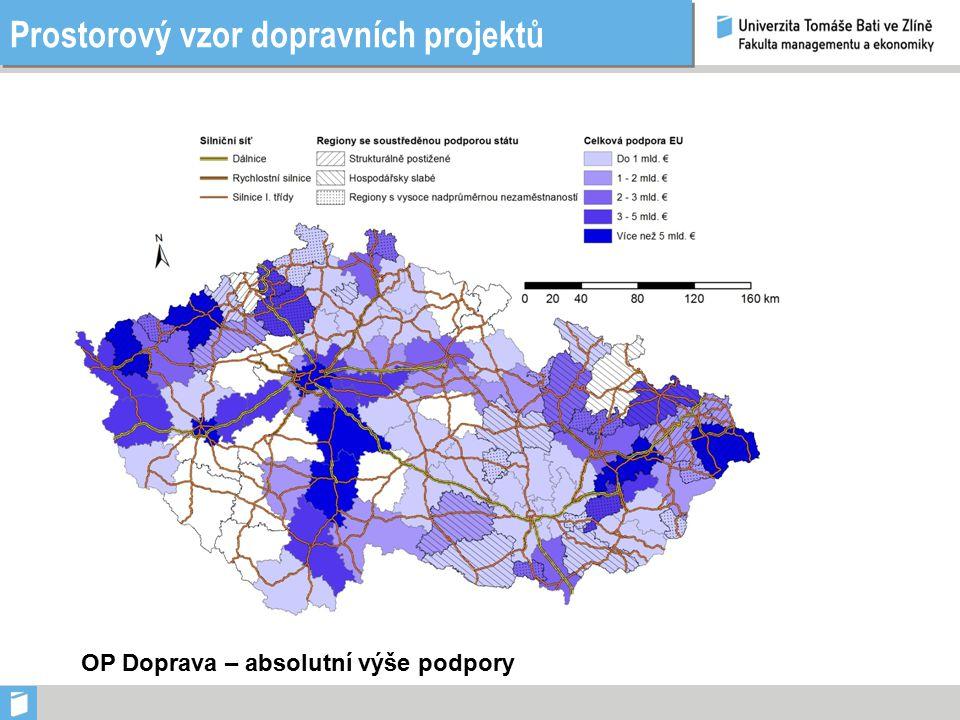 Prostorový vzor dopravních projektů OP Doprava – výše podpory v přepočtu na obyvatele