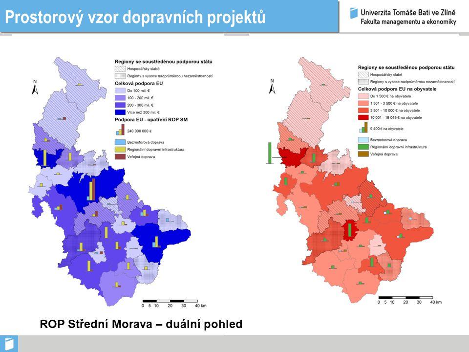 Podpora z ROP Střední Morava v prioritní ose 1 do konce roku 2010 Prostorový vzor dopravních projektů ROP Střední Morava – duální pohled