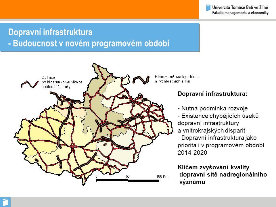 Dopravní infrastruktura - Budoucnost v novém programovém období Dopravní infrastruktura: - Nutná podmínka rozvoje - Existence chybějících úseků dopravní infrastruktury a vnitrokrajských disparit - Dopravní infrastruktura jako priorita i v programovém období 2014-2020 Klíčem zvyšování kvality dopravní sítě nadregionálního významu