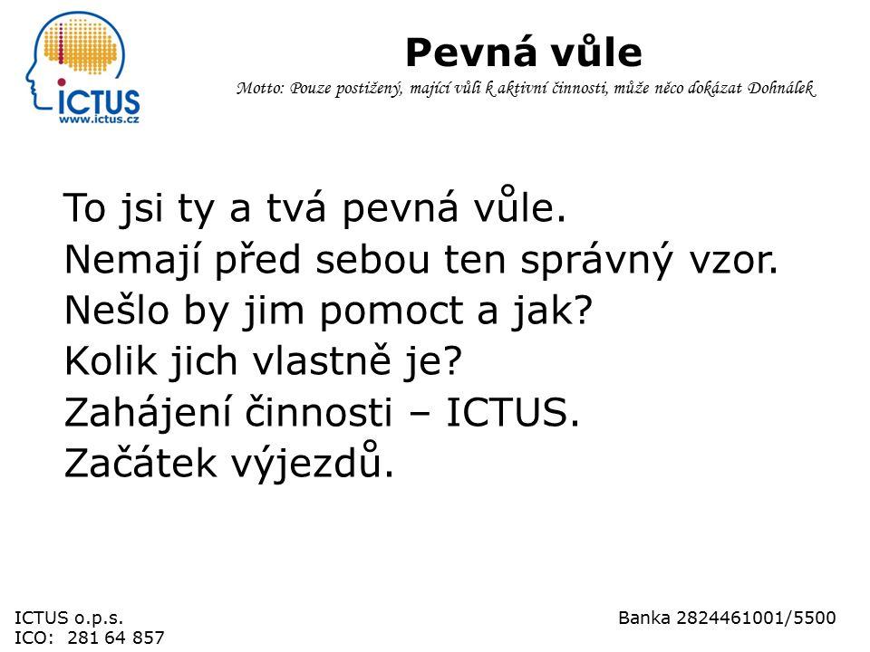 Důchodový věk Motto: Pouze postižený, mající vůli k aktivní činnosti, může něco dokázat Dohnálek ICTUS o.p.s.Banka 2824461001/5500 ICO: 281 64 857WWW.ICTUS.CZ
