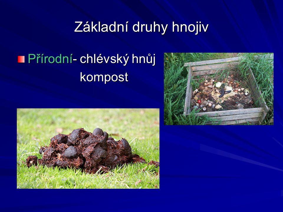 Základní druhy hnojiv Přírodní- chlévský hnůj kompost kompost