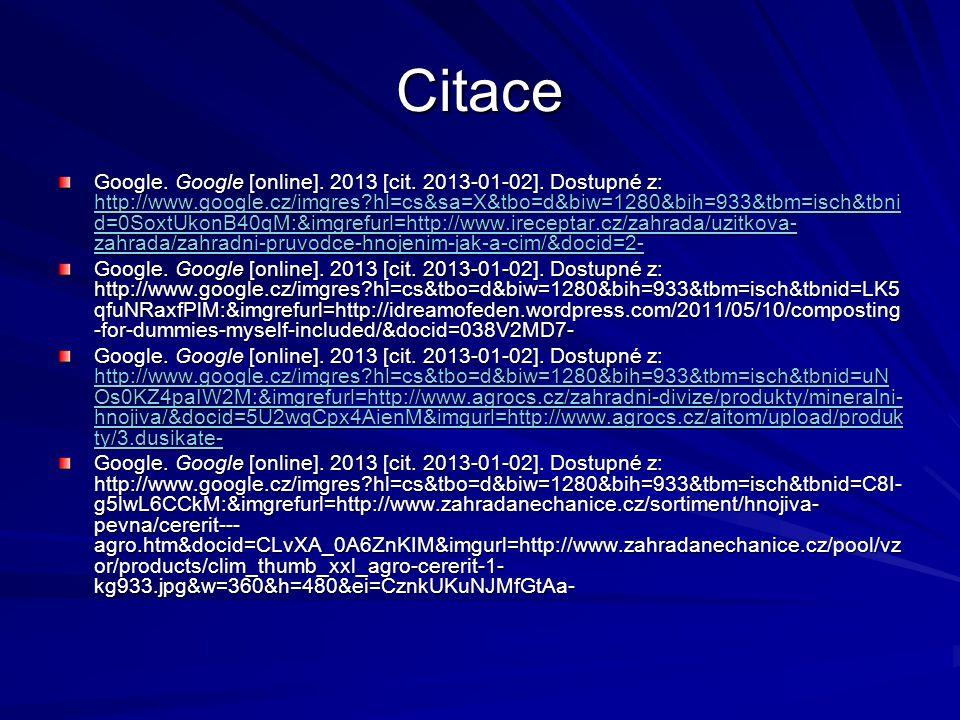 Citace Google. Google [online]. 2013 [cit. 2013-01-02].