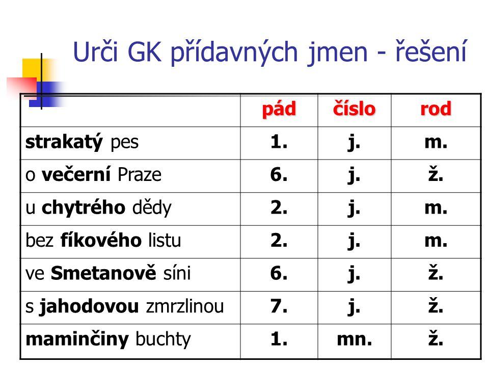Urči GK přídavných jmen - řešení pádčíslorod strakatý pes1.j.m.