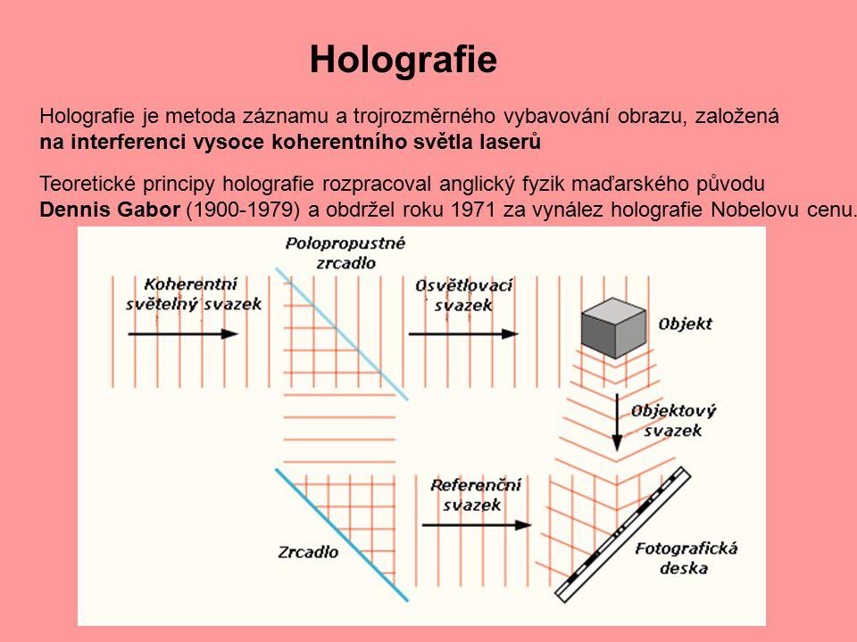 Holografie Holografie je metoda záznamu a trojrozměrného vybavování obrazu, založená na interferenci vysoce koherentního světla laserů Teoretické prin
