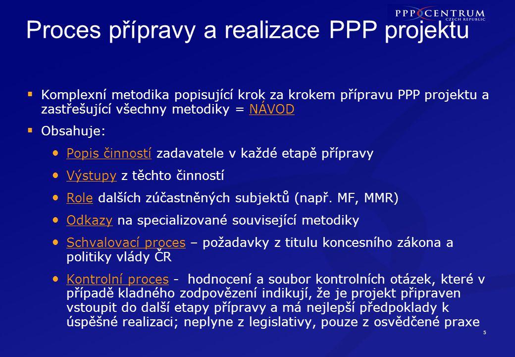 5 Proces přípravy a realizace PPP projektu  Komplexní metodika popisující krok za krokem přípravu PPP projektu a zastřešující všechny metodiky = NÁVOD  Obsahuje: Popis činností zadavatele v každé etapě přípravy Výstupy z těchto činností Role dalších zúčastněných subjektů (např.
