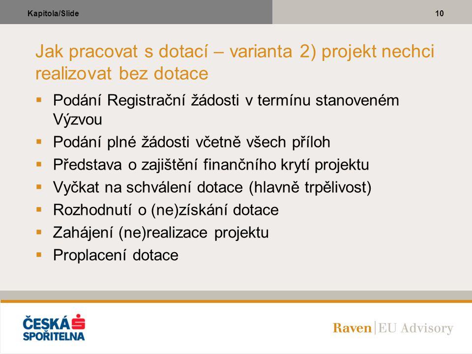 10Kapitola/Slide Jak pracovat s dotací – varianta 2) projekt nechci realizovat bez dotace  Podání Registrační žádosti v termínu stanoveném Výzvou  P