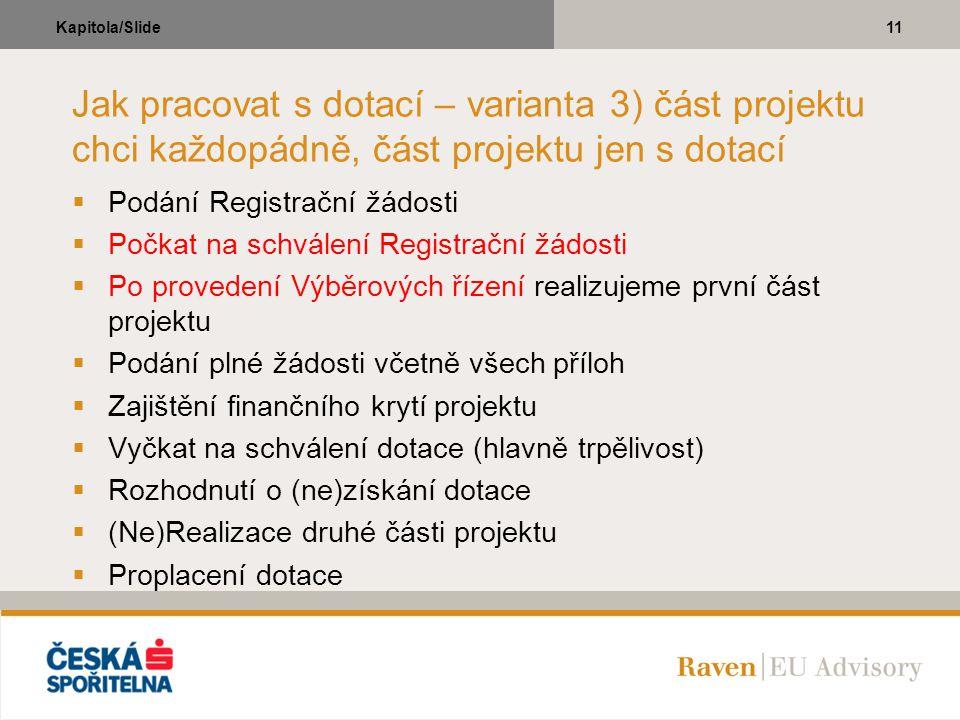 11Kapitola/Slide Jak pracovat s dotací – varianta 3) část projektu chci každopádně, část projektu jen s dotací  Podání Registrační žádosti  Počkat n