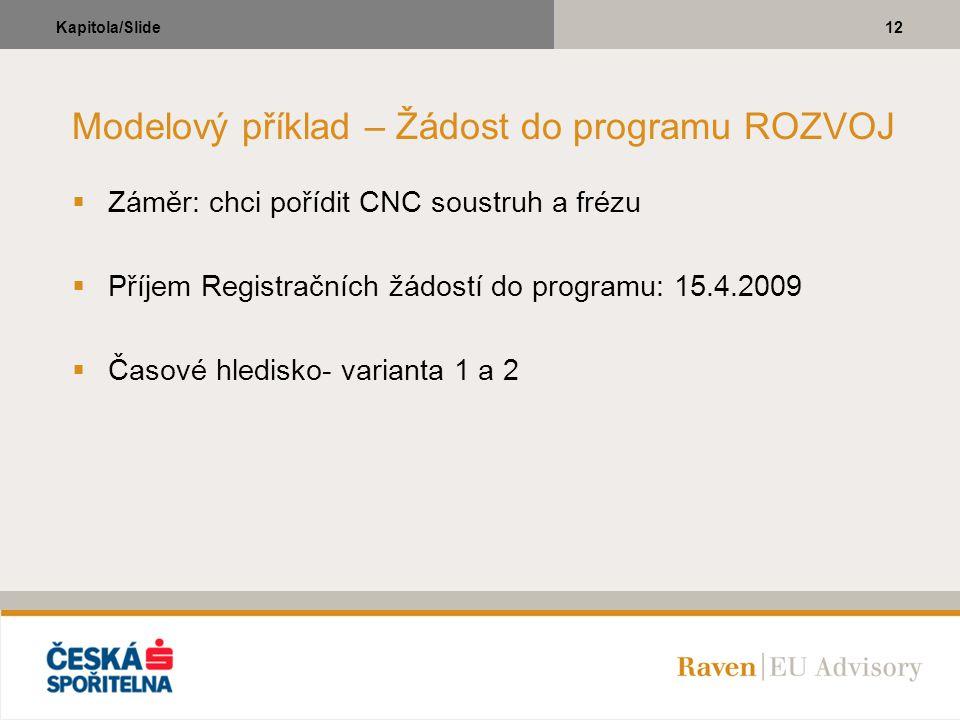 12Kapitola/Slide Modelový příklad – Žádost do programu ROZVOJ  Záměr: chci pořídit CNC soustruh a frézu  Příjem Registračních žádostí do programu: 1