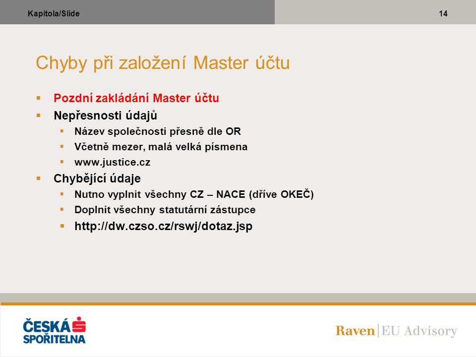 14Kapitola/Slide Chyby při založení Master účtu  Pozdní zakládání Master účtu  Nepřesnosti údajů  Název společnosti přesně dle OR  Včetně mezer, m