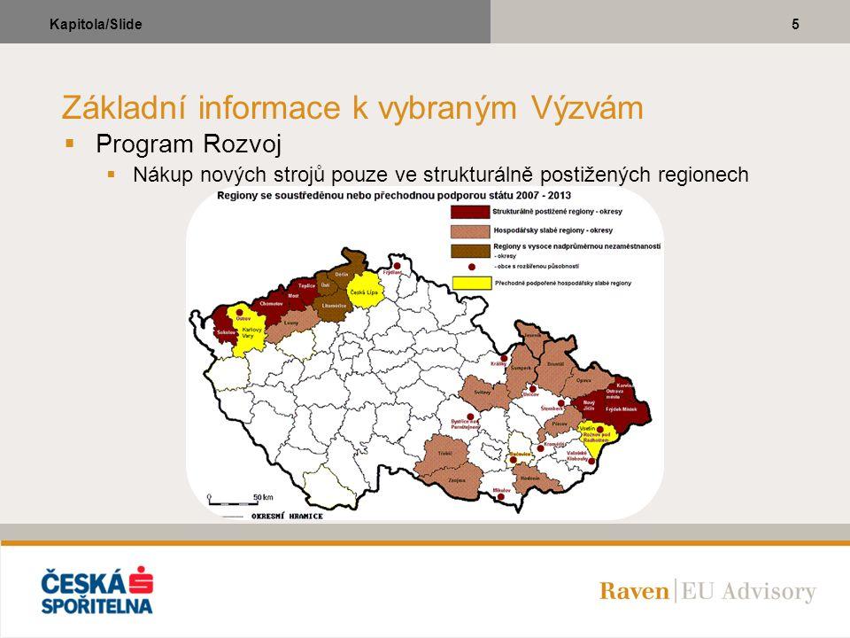 5Kapitola/Slide Základní informace k vybraným Výzvám  Program Rozvoj  Nákup nových strojů pouze ve strukturálně postižených regionech