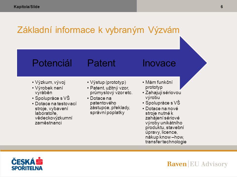 6Kapitola/Slide Základní informace k vybraným Výzvám Mám funkční prototyp Zahajuji sériovou výrobu Spolupráce s VŠ Dotace na nové stroje nutné k zaháj