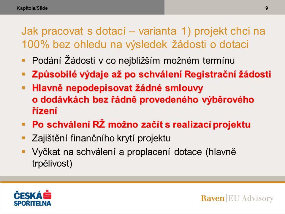 10Kapitola/Slide Jak pracovat s dotací – varianta 2) projekt nechci realizovat bez dotace  Podání Registrační žádosti v termínu stanoveném Výzvou  Podání plné žádosti včetně všech příloh  Představa o zajištění finančního krytí projektu  Vyčkat na schválení dotace (hlavně trpělivost)  Rozhodnutí o (ne)získání dotace  Zahájení (ne)realizace projektu  Proplacení dotace