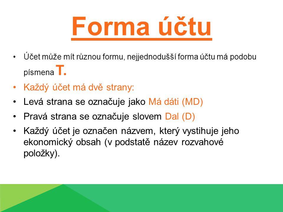 Forma účtu Účet může mít různou formu, nejjednodušší forma účtu má podobu písmena T. Každý účet má dvě strany: Levá strana se označuje jako Má dáti (M
