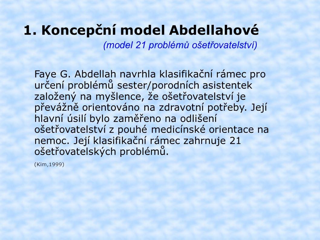 1. Koncepční model Abdellahové (model 21 problémů ošetřovatelství) Faye G.