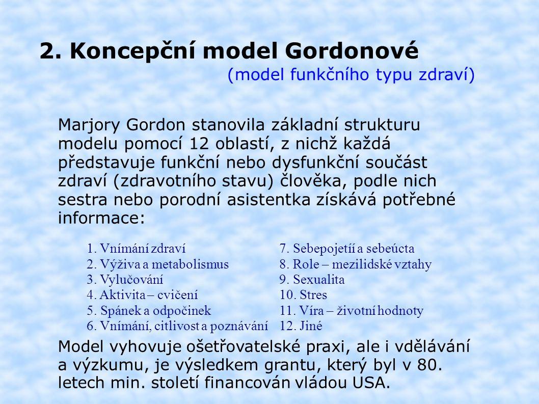 2. Koncepční model Gordonové (model funkčního typu zdraví) Marjory Gordon stanovila základní strukturu modelu pomocí 12 oblastí, z nichž každá předsta