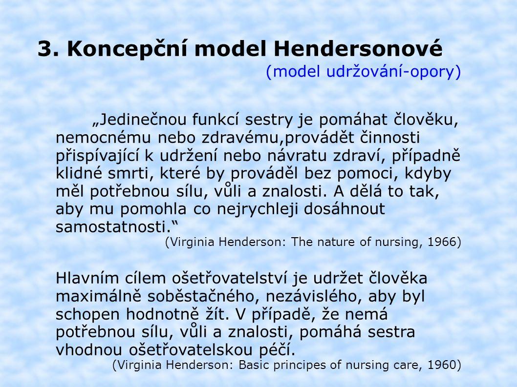 """3. Koncepční model Hendersonové (model udržování-opory) """"Jedinečnou funkcí sestry je pomáhat člověku, nemocnému nebo zdravému,provádět činnosti přispí"""
