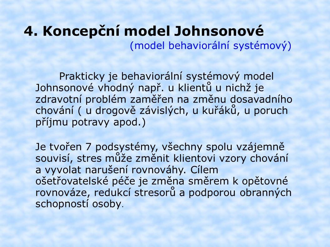 4. Koncepční model Johnsonové (model behaviorální systémový) Prakticky je behaviorální systémový model Johnsonové vhodný např. u klientů u nichž je zd