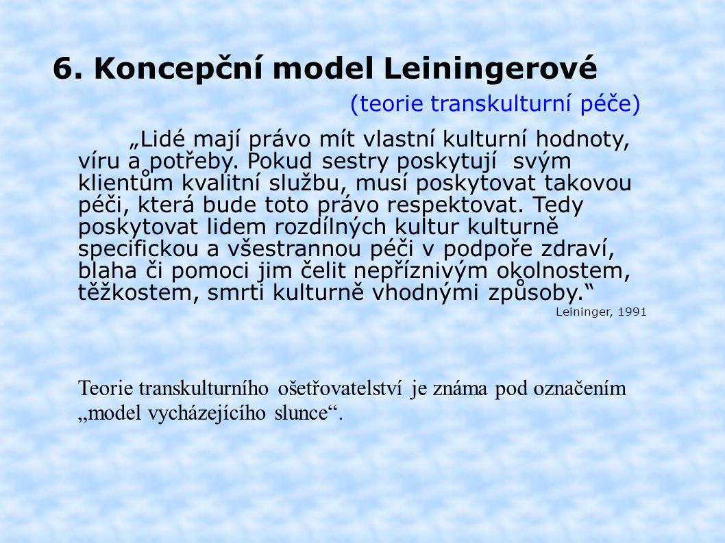 """6. Koncepční model Leiningerové (teorie transkulturní péče) """"Lidé mají právo mít vlastní kulturní hodnoty, víru a potřeby. Pokud sestry poskytují svým"""