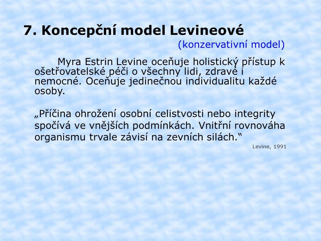 7. Koncepční model Levineové (konzervativní model) Myra Estrin Levine oceňuje holistický přístup k ošetřovatelské péči o všechny lidi, zdravé i nemocn