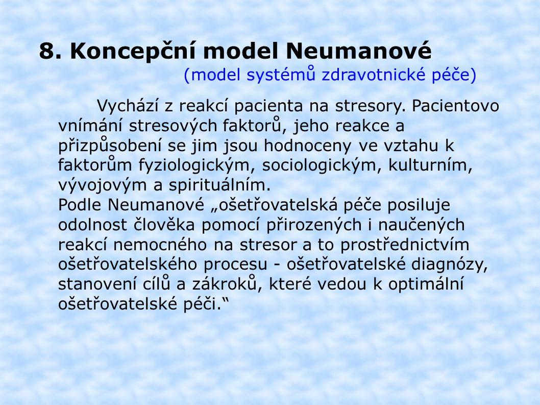 8. Koncepční model Neumanové (model systémů zdravotnické péče) Vychází z reakcí pacienta na stresory. Pacientovo vnímání stresových faktorů, jeho reak