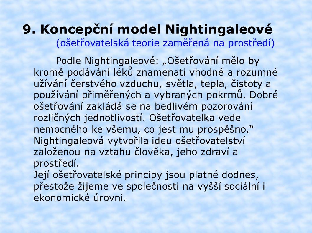 """9. Koncepční model Nightingaleové (ošetřovatelská teorie zaměřená na prostředí) Podle Nightingaleové: """"Ošetřování mělo by kromě podávání léků znamenat"""
