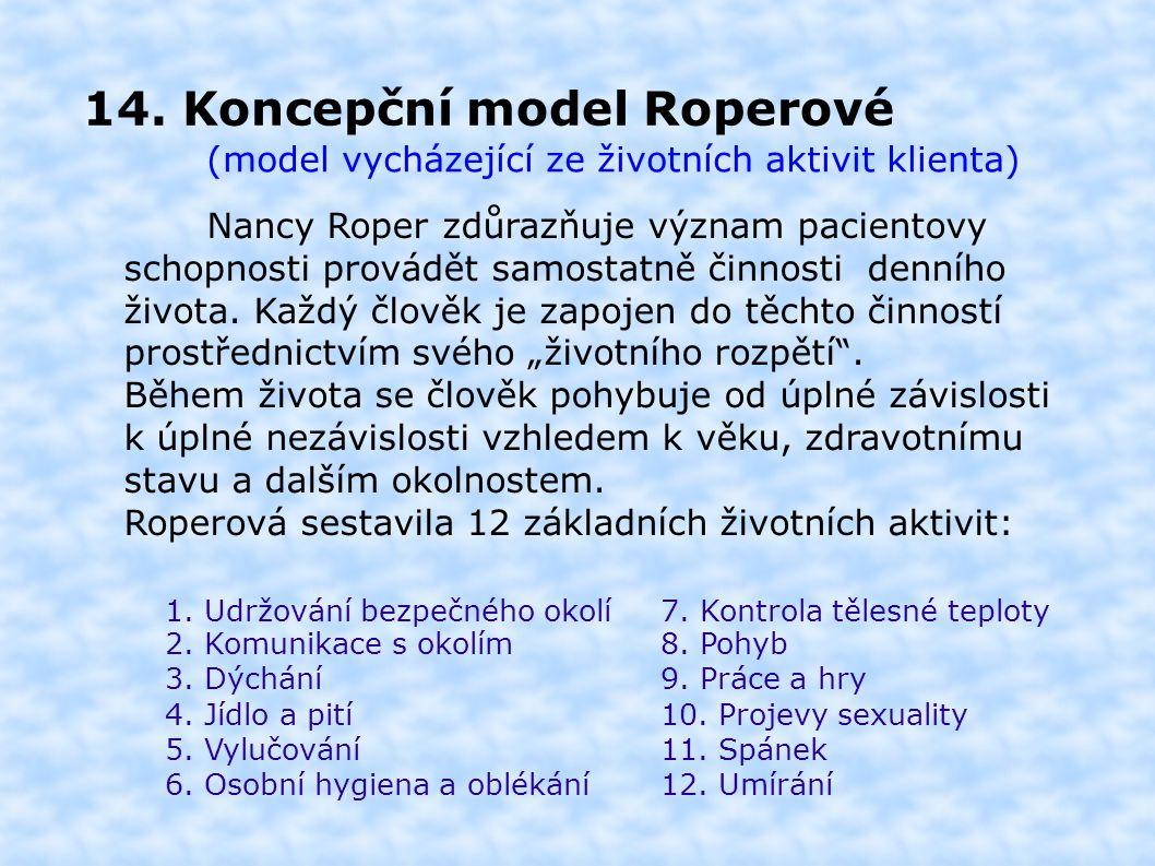 14. Koncepční model Roperové (model vycházející ze životních aktivit klienta) Nancy Roper zdůrazňuje význam pacientovy schopnosti provádět samostatně