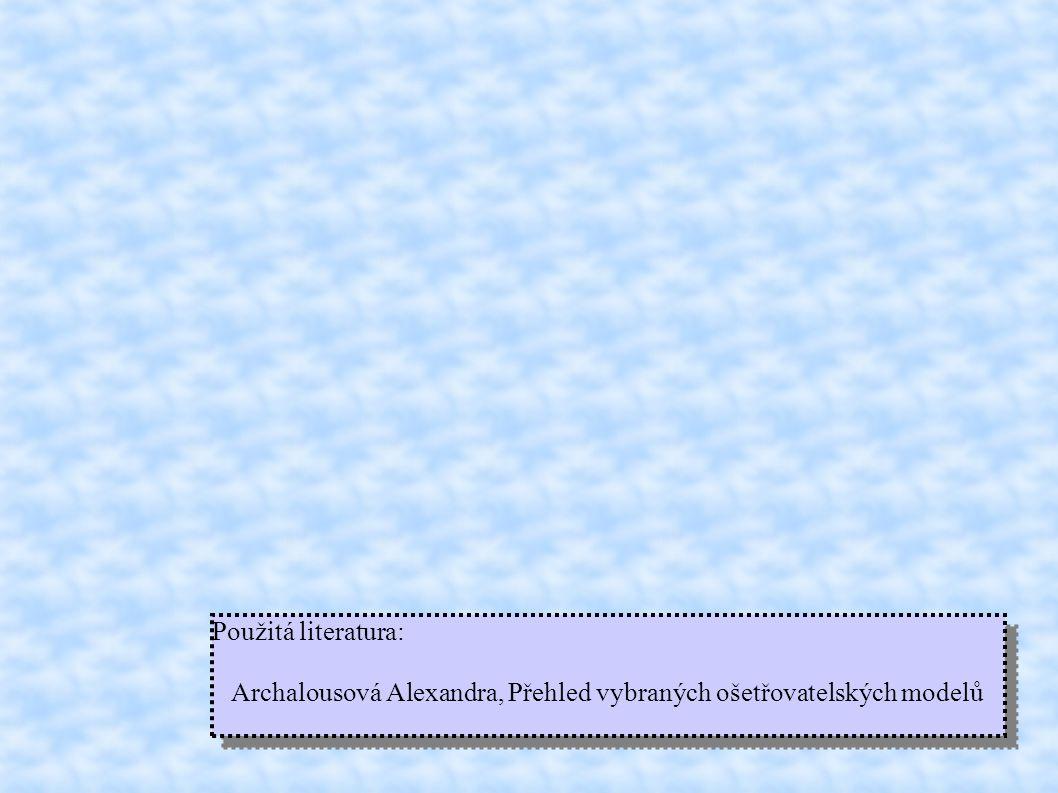 Použitá literatura: Archalousová Alexandra, Přehled vybraných ošetřovatelských modelů Použitá literatura: Archalousová Alexandra, Přehled vybraných ošetřovatelských modelů