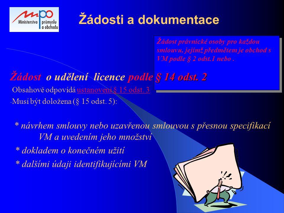 Žádost právnické osoby pro každou smlouvu, jejímž předmětem je obchod s VM podle § 2 odst.1 nebo.
