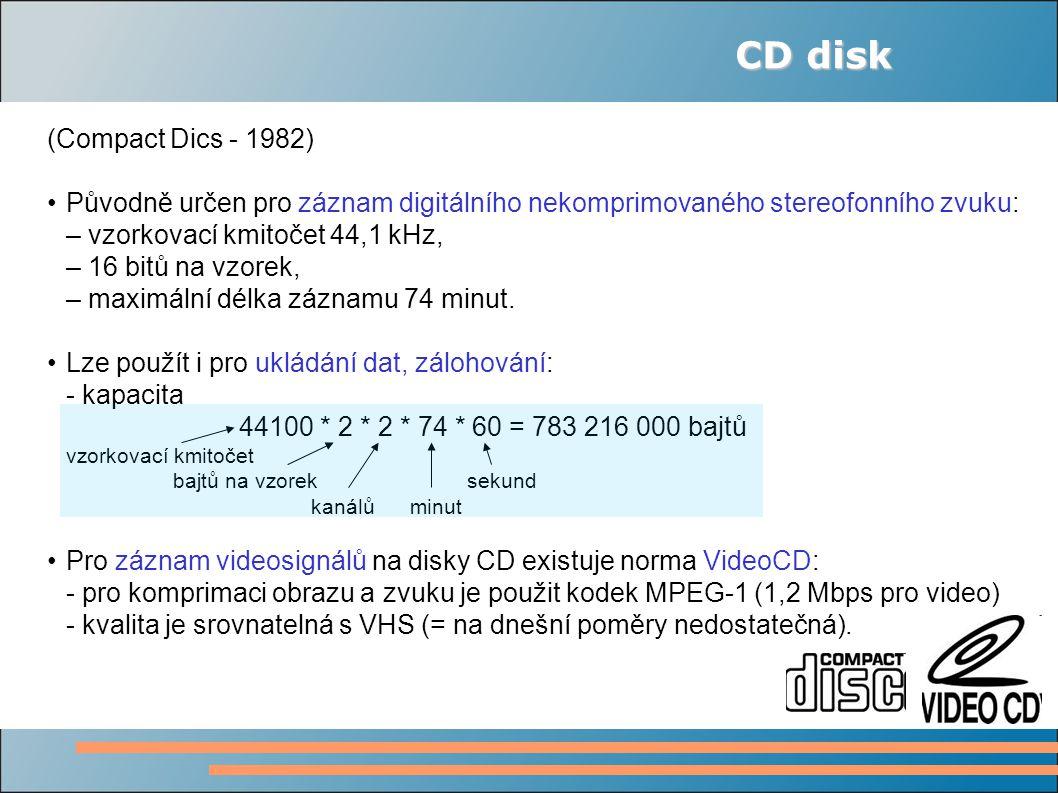 CD disk (Compact Dics - 1982) Původně určen pro záznam digitálního nekomprimovaného stereofonního zvuku: – vzorkovací kmitočet 44,1 kHz, – 16 bitů na vzorek, – maximální délka záznamu 74 minut.