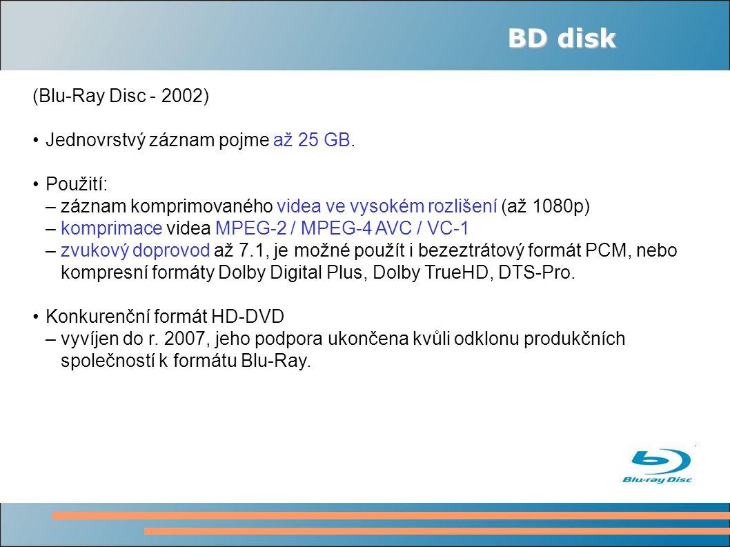 BD disk (Blu-Ray Disc - 2002) Jednovrstvý záznam pojme až 25 GB.