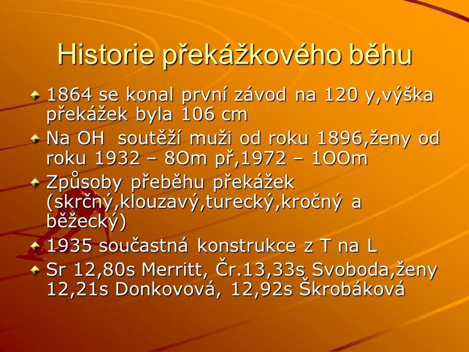 Historie překážkového běhu 1864 se konal první závod na 120 y,výška překážek byla 106 cm Na OH soutěží muži od roku 1896,ženy od roku 1932 – 8Om př,19