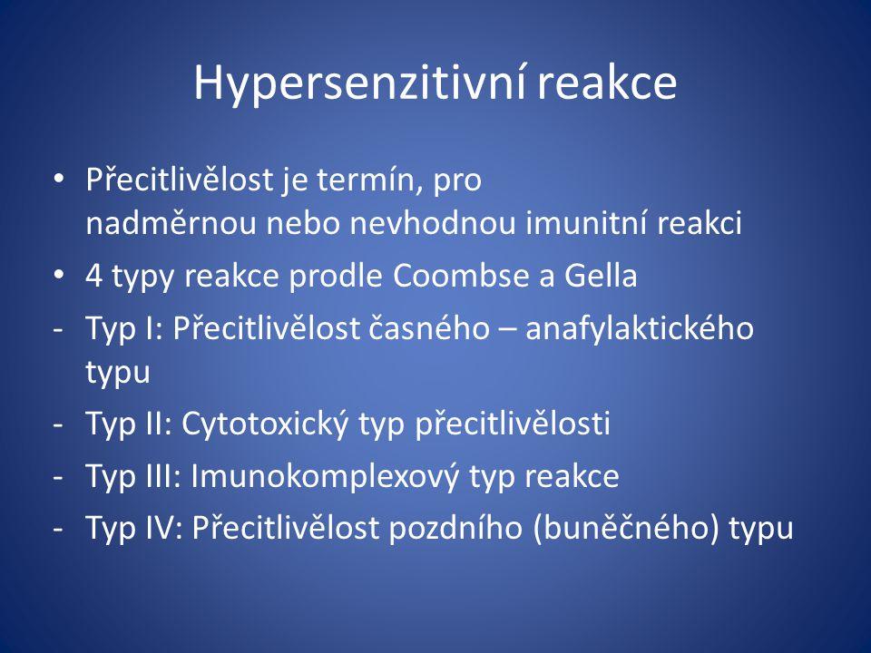 Hypersenzitivní reakce Přecitlivělost je termín, pro nadměrnou nebo nevhodnou imunitní reakci 4 typy reakce prodle Coombse a Gella -Typ I: Přecitlivěl