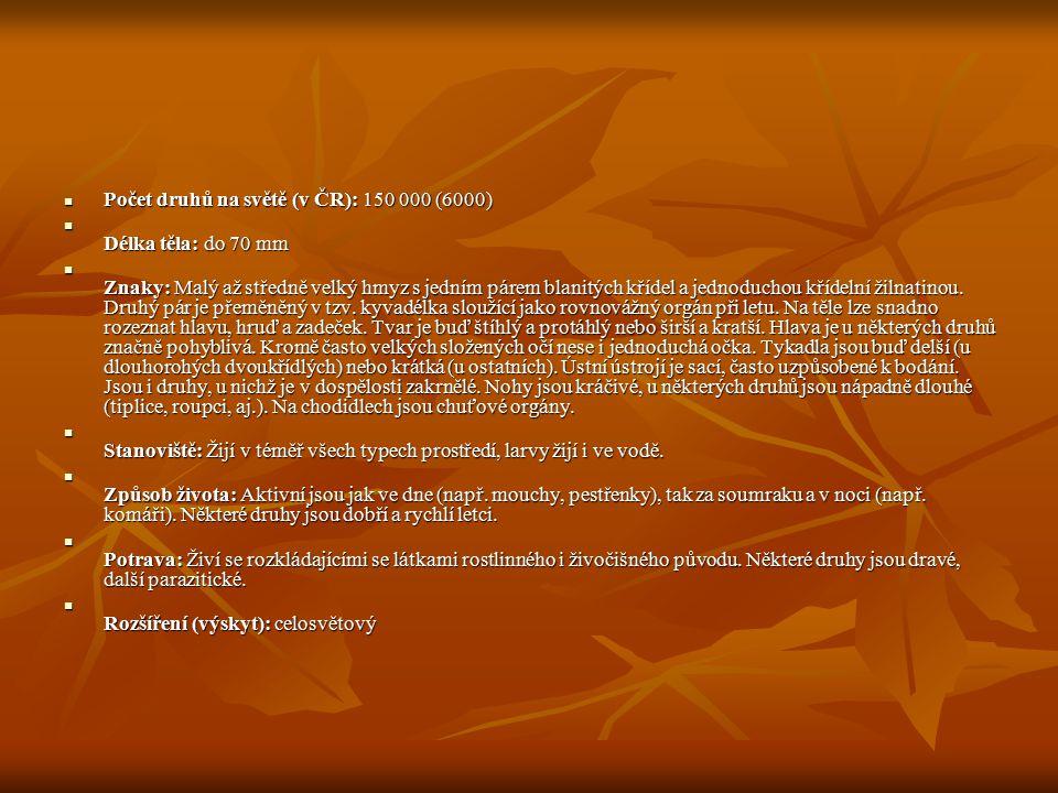 Počet druhů na světě (v ČR): 150 000 (6000) Počet druhů na světě (v ČR): 150 000 (6000) Délka těla: do 70 mm Délka těla: do 70 mm Znaky: Malý až středně velký hmyz s jedním párem blanitých křídel a jednoduchou křídelní žilnatinou.
