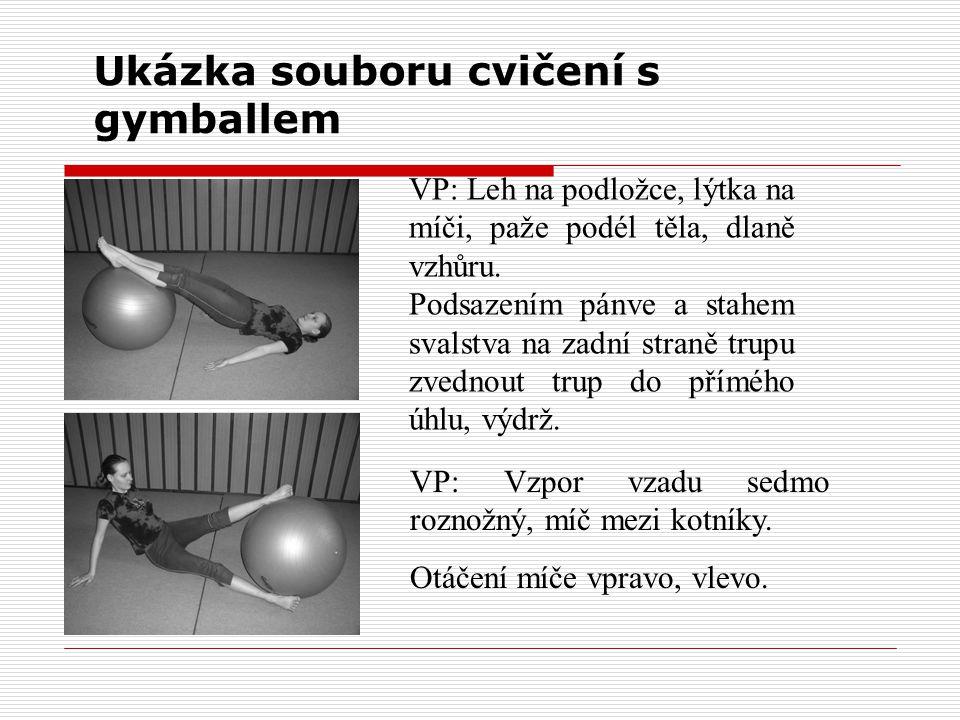 Ukázka souboru cvičení s gymballem VP: Leh na podložce, lýtka na míči, paže podél těla, dlaně vzhůru. Podsazením pánve a stahem svalstva na zadní stra