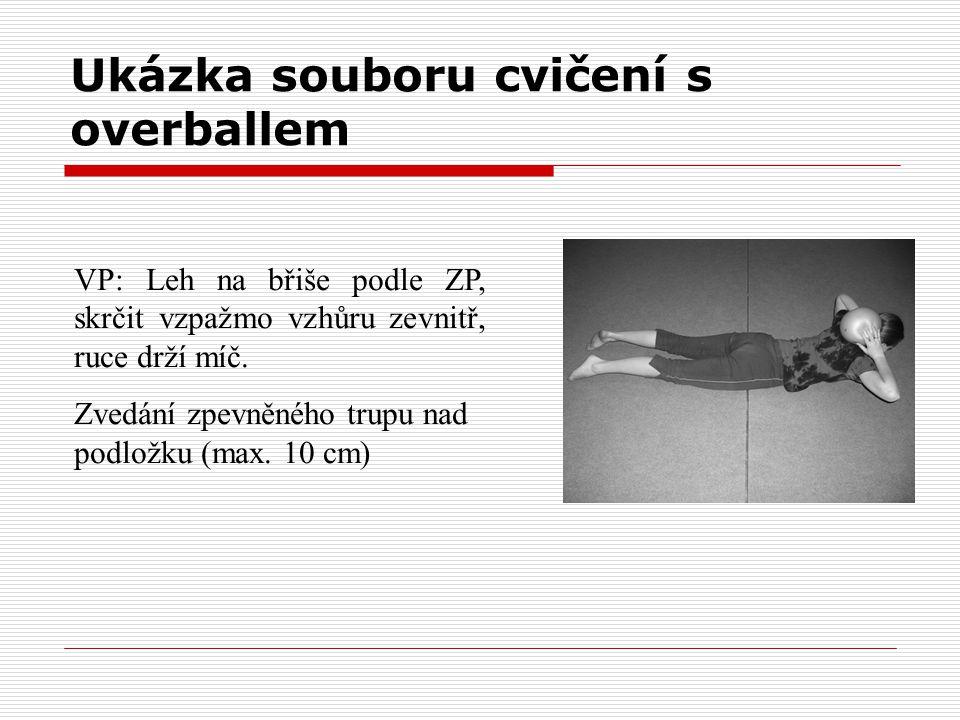 Ukázka souboru cvičení s overballem VP: Leh na břiše podle ZP, skrčit vzpažmo vzhůru zevnitř, ruce drží míč. Zvedání zpevněného trupu nad podložku (ma