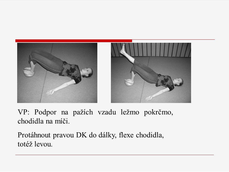VP: Podpor na pažích vzadu ležmo pokrčmo, chodidla na míči. Protáhnout pravou DK do dálky, flexe chodidla, totéž levou.