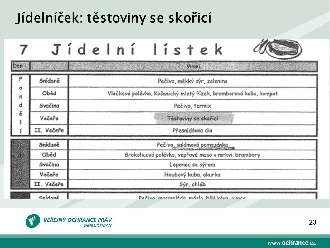 www.ochrance.cz 23 Jídelníček: těstoviny se skořicí