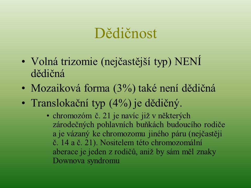Dědičnost Volná trizomie (nejčastější typ) NENÍ dědičná Mozaiková forma (3%) také není dědičná Translokační typ (4%) je dědičný. chromozóm č. 21 je na