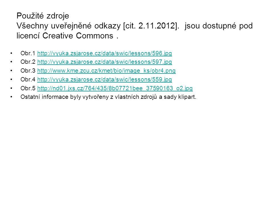 Použité zdroje Všechny uveřejněné odkazy [cit. 2.11.2012]. jsou dostupné pod licencí Creative Commons. Obr.1 http://vyuka.zsjarose.cz/data/swic/lesson