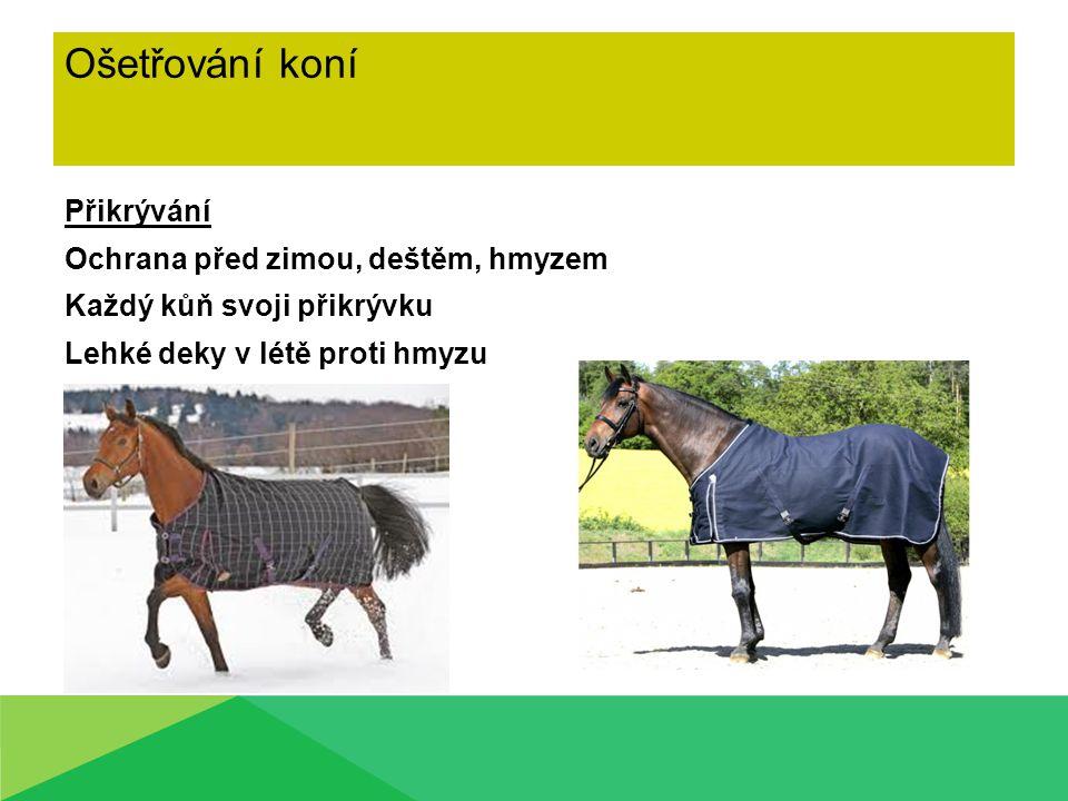 Ošetřování koní Přikrývání Ochrana před zimou, deštěm, hmyzem Každý kůň svoji přikrývku Lehké deky v létě proti hmyzu